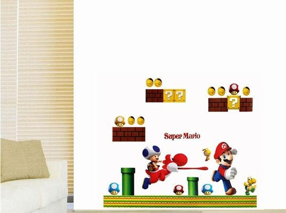 New Large Super Mario Brothers Wall Decal Bedroom Stickers