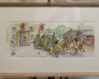 Peter Atkins original painting watercolour cartoon Mr Pickwick humour Dickens coach framed art Freight cost extra etsy global gift