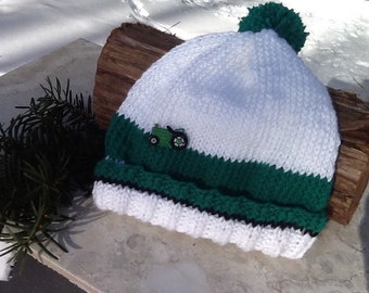 White and green child's knit hat, stocking hat, tractor hat, white hat green cuff, tractor button, soft and warm