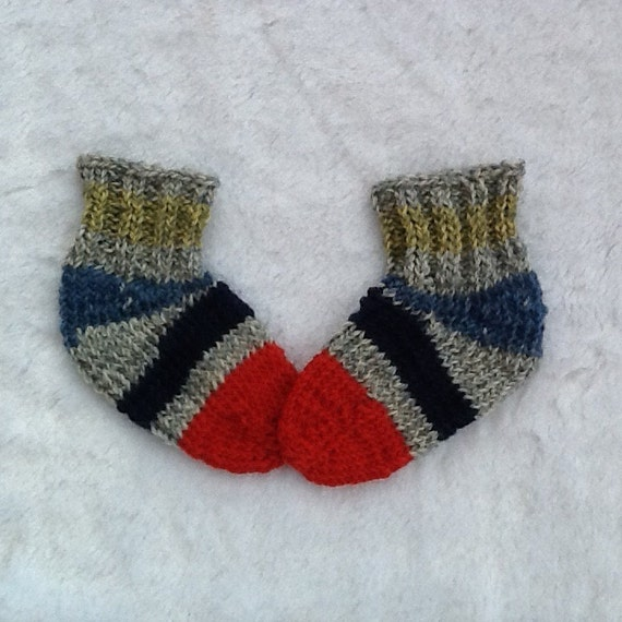 Hand knit striped baby socks red toe tweed by