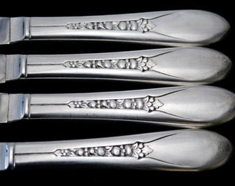 Vintage Silver Plated Knives, Priscilla Silverware, Hollow Handle Dinner Knife  Floral Silverware