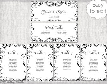 Wedding Seating Chart Template Black And White   Free Wedding Seating Chart Templates