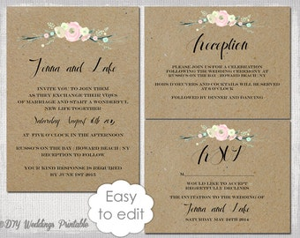 Rustic Wedding Invitation Templates Suite DIY  Awesome Ideas