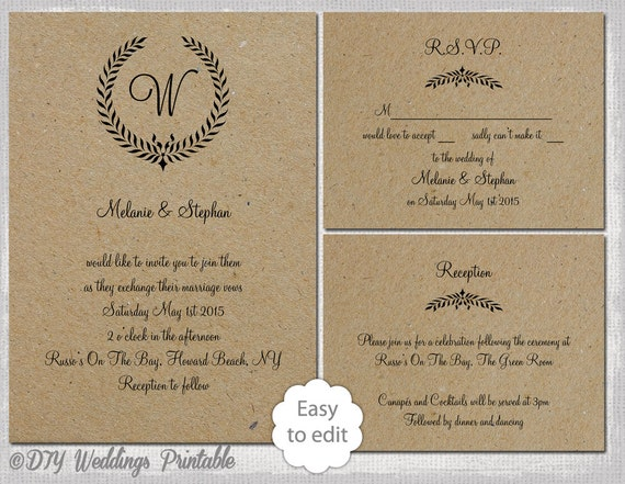Printable Rustic wedding invitation set with a leaf garland monogram design for you to make your own DIY wedding invites