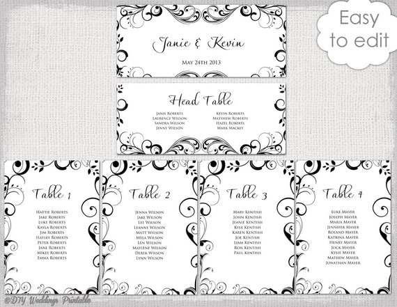 Wedding seating chart template Black and white – Seating Chart Template Word