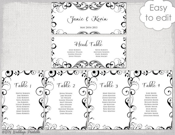 free printable wedding seating chart template - wedding seating chart template black and white