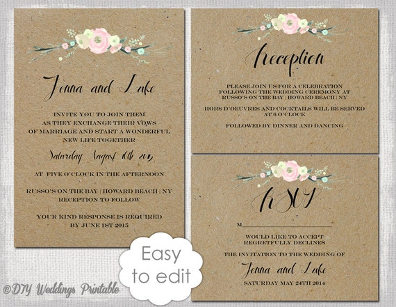 Wedding Invitation Suite Templates: Rustic Wedding Invitation Templates Suite DIY Rustic