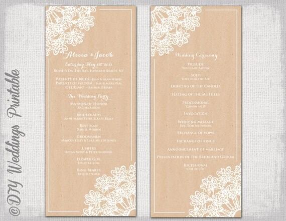 Printable Wedding program template Rustic wedding program – Printable Program Templates