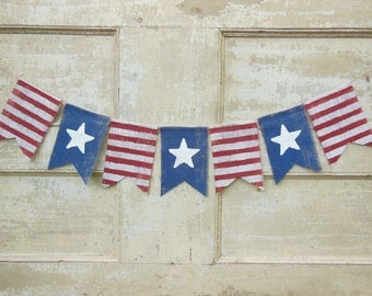 Ready to Ship, American Flag Banner, Patriotic Banner, Patriotic Bunting, 4th of July Banner Garland, Patriotic Decor, Burlap Bunting