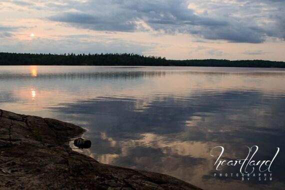Boundary Waters, Sunset Photography, Reflection Art, Cloudy Reflection, BWCA Prints, Minnesota Art, Interior Design, Nature Landscape