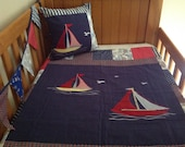 Baby quilt modern patchwork boats cot /crib quilt set, nautical nursery bedding  crib bedding, nautical,cushion cover, bunting flags,