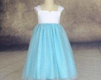 Simple Flower Girl Dress Cap Sleeves Tulle Skirt