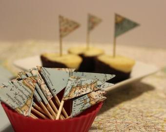 Vintage Map Cupcake Toppers, Wedding Cake Topper Set