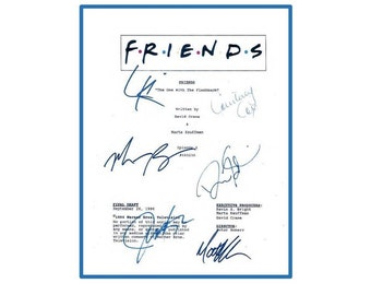 """Friends """"The One With The Flashback"""" Episode TV Script Autographed: David Schwimmer, Jennifer Aniston, Courtney Cox"""