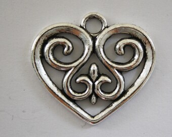Heart Charms Pendant Silver - 29x33mm - 6ct - #286
