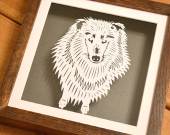Collie dog papercut portrait - personalised beautiful framed floating paper cuts - ideal gift
