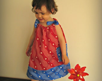 Retro print pillowcase dress for babies and toddlers, red, blue and white