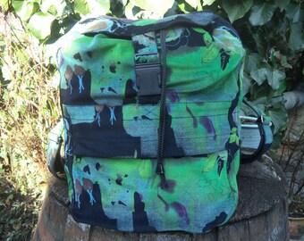 Green and black - corduroy backpack
