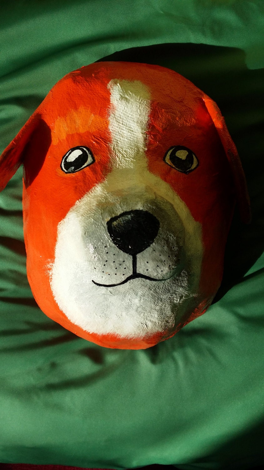 how to make a paper mache dog head