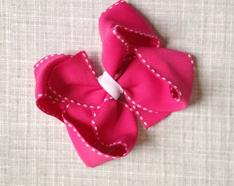 Fuschia and White Hair Bow - 4.5 Inches Wide by 4 Inches Tall