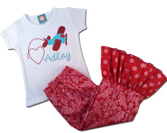 Girl Airplane Outfit with Airplane Shirt and Matching Red Ruffle Pants - F50, F60
