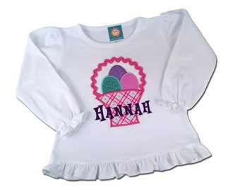 Girl's Easter Shirt with Easter Basket and Embroidered Name