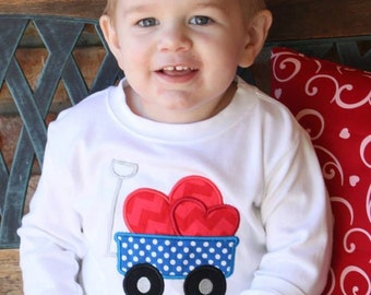 Boy's Valentine Shirt with Heart Wagon and Embroidered Name