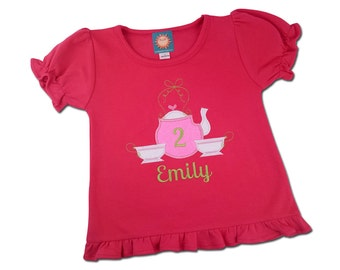 Tea Party Birthday Shirt with Teapot Number and Name