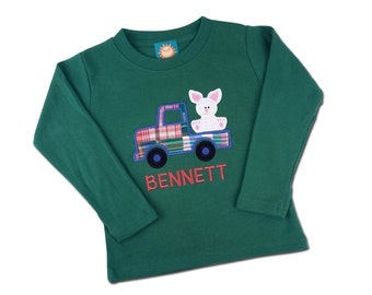 Boy's Easter Shirt - Easter Bunny in Plaid Truck with Embroidered Name - M26