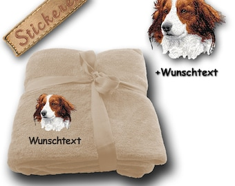 "Fluffy blanket embroidered with ""KOOIKERHONDJE"" + Own Words"