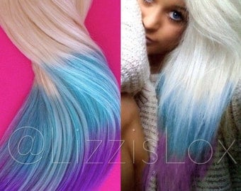 "20"" Clip-in Extensions Blonde to Pastel Blue & Purple Ombre Dip Dye Balayage 100% REMY human hair 100 / 150 / 200 / 250 / 300 grams"