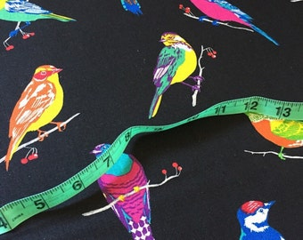 Echino birds cotton/linen blend fabric
