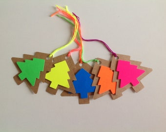 Neon christmas tree tags, 10 Christmas tags, mixed tag set, 3D Christmas trees,