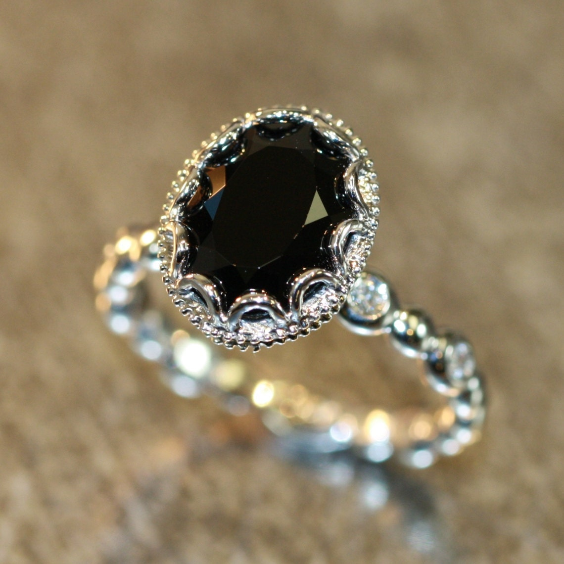 Floral Diamond Black Spinel Engagement Ring in 14k by ...