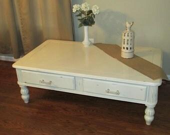 SOLD-Antique White Distressed Coffee Table- Portfolio