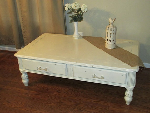 Sold Antique White Distressed Coffee Table By Timeandtimeagainco