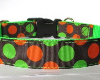 "Dog Collar Orange and Green Polka Dots on Brown on 1"" Neon Green Nylon Webbing - Adjustable Sizes"