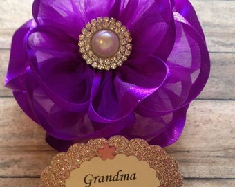 Purple Mommy To Be Baby Shower Corsage Badge It's a Girl Purple Theme Corsage