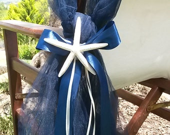 Beach Wedding Chair Sash - Chair End Decor - Wedding Chair Sash - Tulle Sash with Starfish - Aisle Marker - Pew End - Chair Sash - Set of 10
