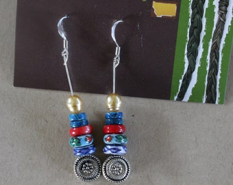 Country western patterned silver earrings