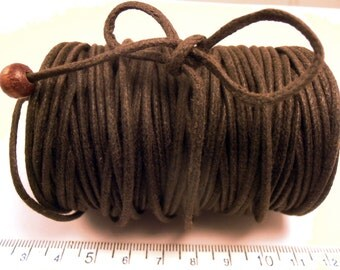 30 yd 2mm WAXED Cotton Cord DARK Brown  - High Quality Cord Made in the USA (16w)