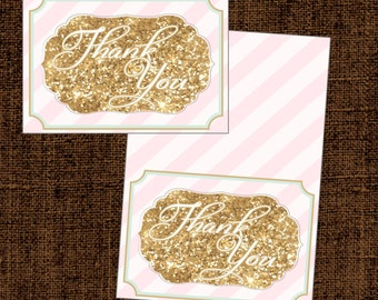Mint Blush Pink Gold Glitter Thank You Card, INSTANT DOWNLOAD - Vivian Collection