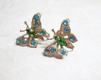 Vintage Signed Coro Apple Green Blue Rhinestone Butterfly  Earrings Gold Tone
