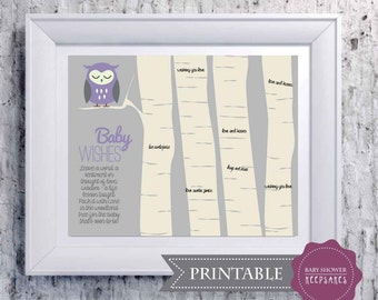 Baby Shower Game Keepsake PRINTABLE Art Print - Woodland Nursery