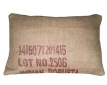 Coffee grain sack cushion maroon. 40x60cm / 16x24 inch. Insert included.