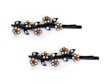 Crystal Flower Bobby Pin PAIR Hair Clip Accessory Black Tone Brown