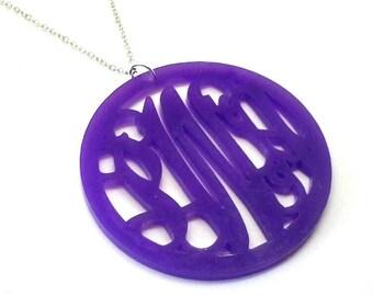 """Large 2"""" Purple Acrylic Monogram Necklace"""