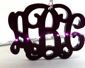 "Large 2"" Midnight Purple Acrylic Monogram Necklace"