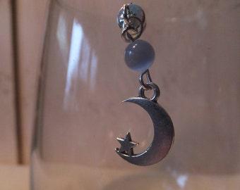 Moon-Star Single Stemless Wine Glass Charm