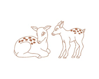 Fawns Machine Embroidery Design,  two fawns, redwork stitch, two sizes each , #397